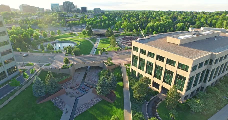 Denver, Colorado, USA-June 14, 2015. Aerial view of urban park in business park.