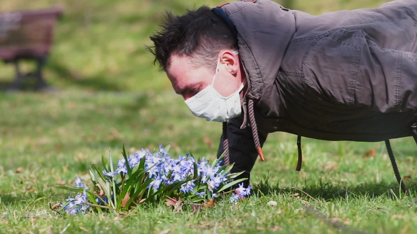 Spring in coronavirus, COVID 19. A man in a medical mask sniffs fresh flowers while quarantining a viral infection. Limitation of sensation of smells, fresh air.   Shutterstock HD Video #1048868452