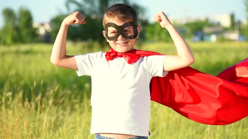 Superhero Kid Outdoors. Little Boy Wearing Super Hero ...