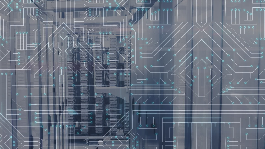Animation of computer circuit board, data processing and digital information flowing through network of computer servers in a server room with light trails flashing on surface. Global network of | Shutterstock HD Video #1049358922