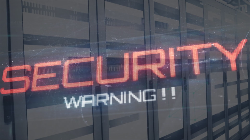Animation of the words Security Warning, fingerprints, data processing and digital information flowing through network of computer servers in a server room with light trails flashing on surface. | Shutterstock HD Video #1049361892
