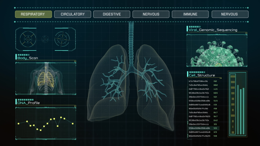 Anatomical Diagnose of Pneumonia Infected Human Lungs on Futuristic Touch Screen Interface showing organ parts, data and virus cells. Concept: In the Near Future of Medicine and Healthcare. Looping.   Shutterstock HD Video #1049408872