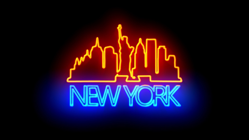 NEW YORK. neon lights backgrounds.  | Shutterstock HD Video #1049430202