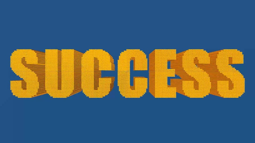"""Abstract animation - orange bars on blue background fly and line up in the word """"Success""""   Shutterstock HD Video #1049523562"""