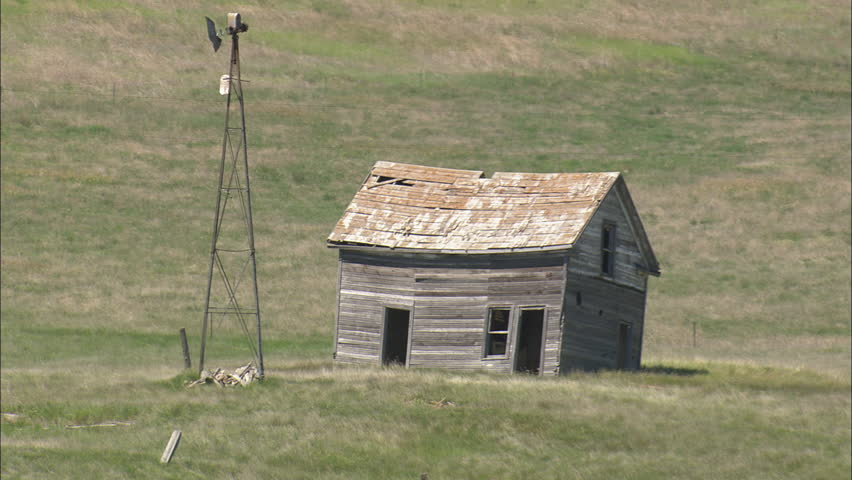 AERIAL United States-Small Abandoned Homestead 2012 - HD stock footage clip