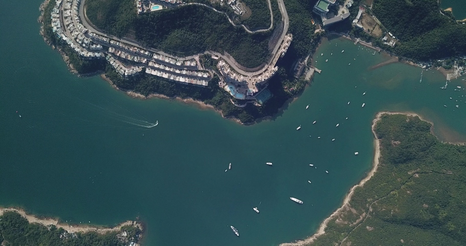 Aerial view of the Redhill Peninsula of Hong Kong | Shutterstock HD Video #1049561062