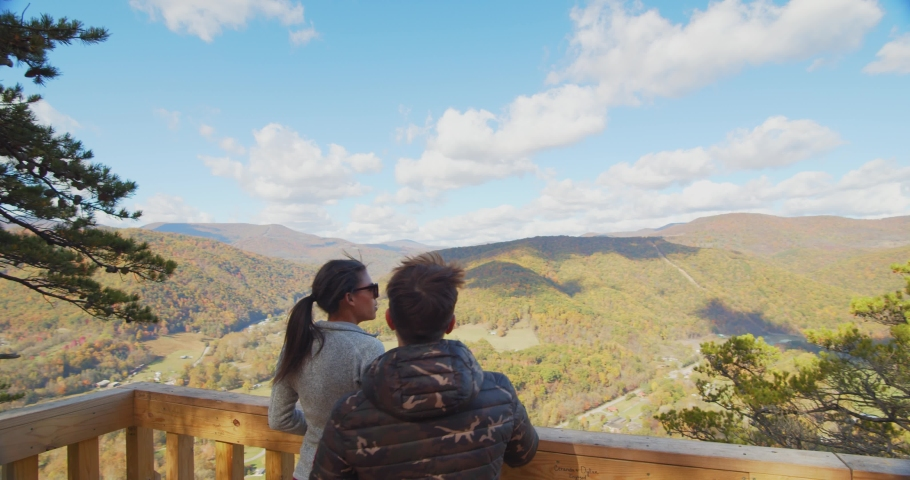 Couple at the Top of Seneca Rocks, West Virginia, View of Landscape | Shutterstock HD Video #1049616442