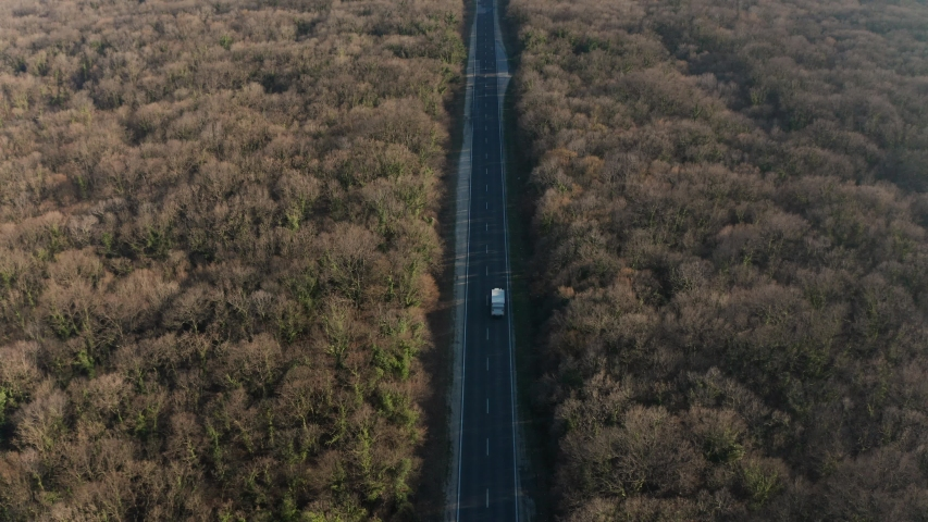 Drone flight over thick autumn forest with road and cars  | Shutterstock HD Video #1049654542