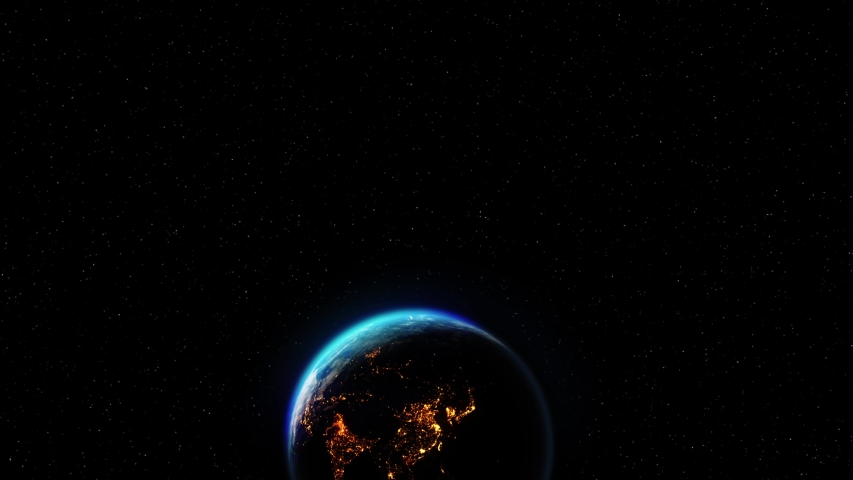 Realistic Motion Graphics of Planet Earth Rotating in the Night Starfield Intros, Endings, Logo Presentation, Background | Shutterstock HD Video #1049685112
