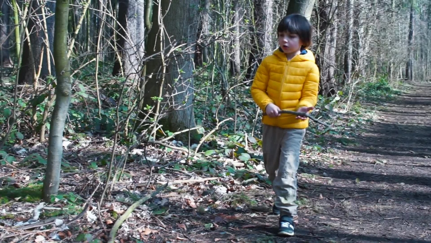 A boy walks through the woods. Leisure activities in social isolation. Clean environment. Mental relaxation. Social distance in the fresh air. Quarantine COVID 19.  | Shutterstock HD Video #1049778172