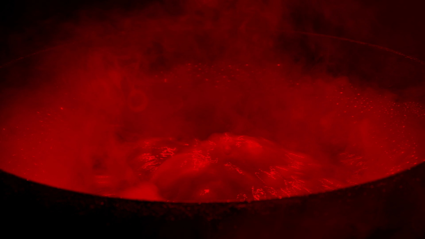 Smoky Red Cauldron Boiling And Bubbling | Shutterstock HD Video #1049884432