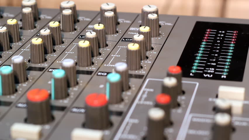 A closeup of an audio mixer. HD 1080p . Canon EOS 550D .