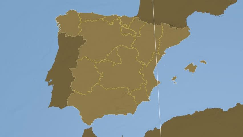 Comunidad De Madrid Autonomous Community Extruded On The Physical