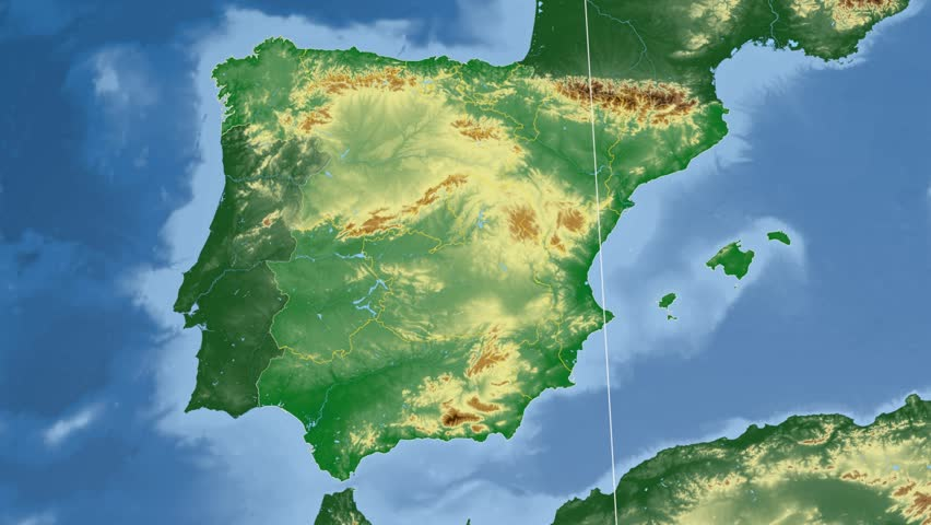 Elevation Map Of Spain.Galicia Autonomous Community Extruded On Stock Footage Video 100 Royalty Free 10533392 Shutterstock