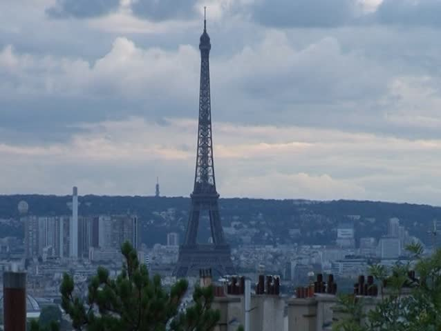 View on Eiffel Tower from Basilica of the Sacred Heart at evening, Paris, France | Shutterstock HD Video #10551812