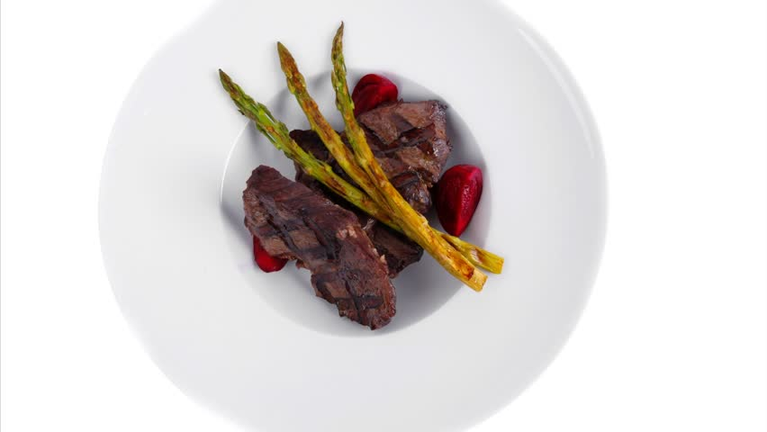 Grilled Red Beef Pork Meat Barbecue Steak Fillet With Asparagus And Hot Pepper Served On Deep