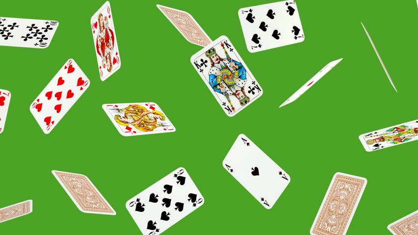 Playing card falling