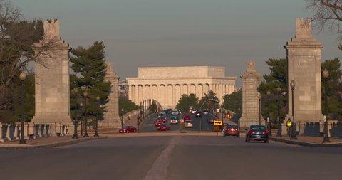 Lincoln Memorial-Memorial Bridge-Evening Sun with commuter auto traffic