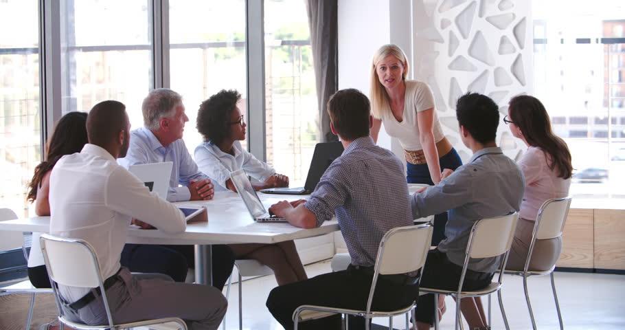 People Attending Business Meeting In Modern Open Plan Office | Shutterstock HD Video #10604222