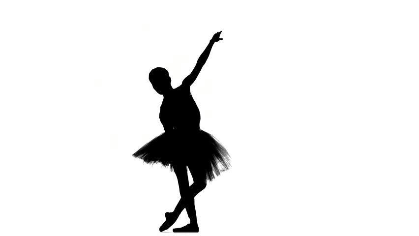 75a601677ef15 Portrait of the ballerina in ballet pose on a white background. Ballerina  is wearing pink tutu and pointe shoes, silhouette