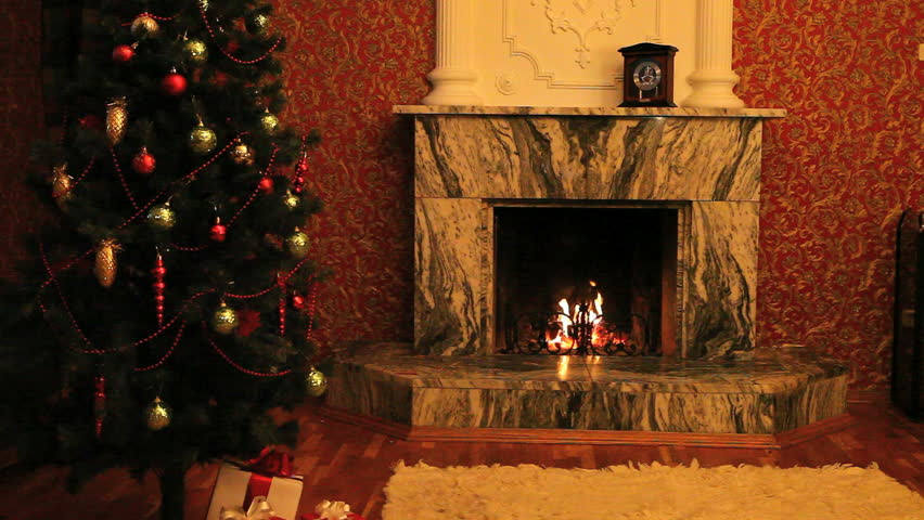 Fireplace With Christmas-tree Near By Stock Footage Video 1063012 ...