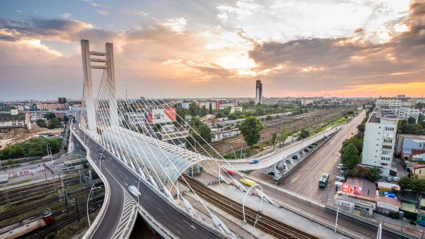 Timelapse view of Bucharest, Romania from over the Basarab Bridge