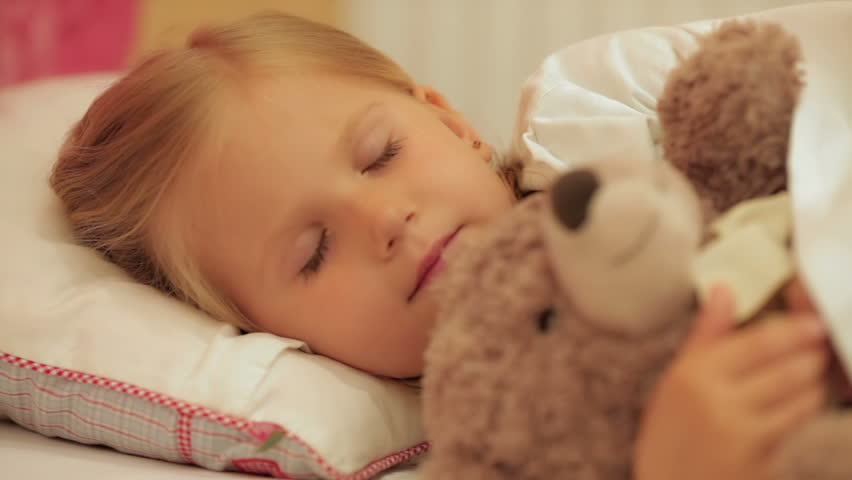 64446a0095ab Cute Little Girl Sleeping with Stock Footage Video (100% Royalty-free ...