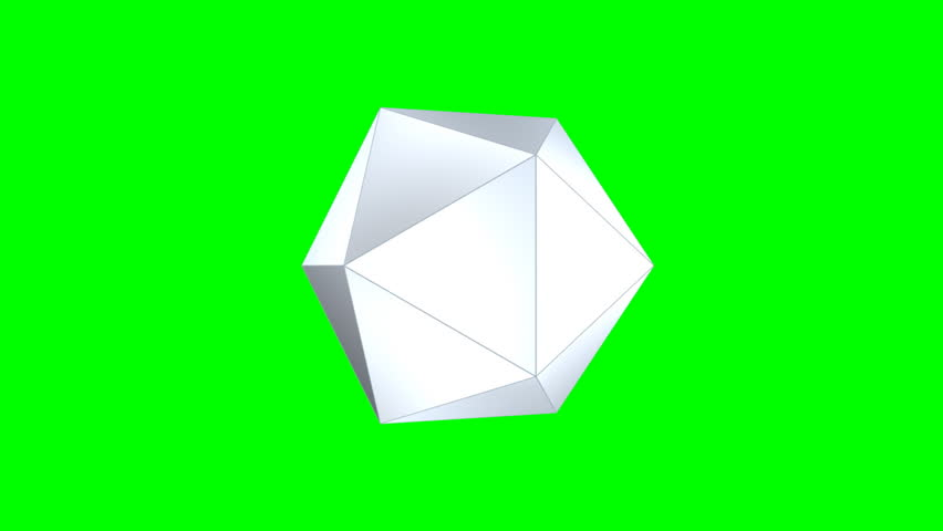 Abstract three-dimensional multi-faceted polyhedron rotating against a green screen, final zoom-in for custom content placement
