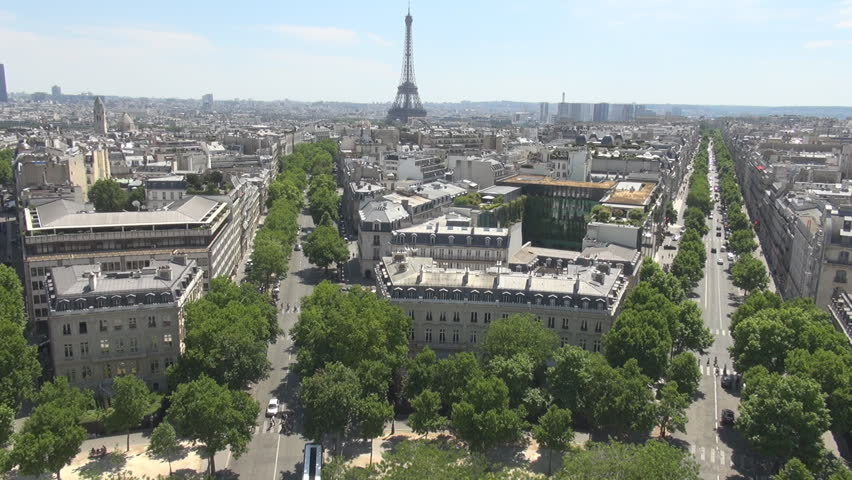 PARIS, FRANCE - June 27, 2015 Paris architecture and buildings, view from trimphal arch, french culture street | Shutterstock HD Video #10656092