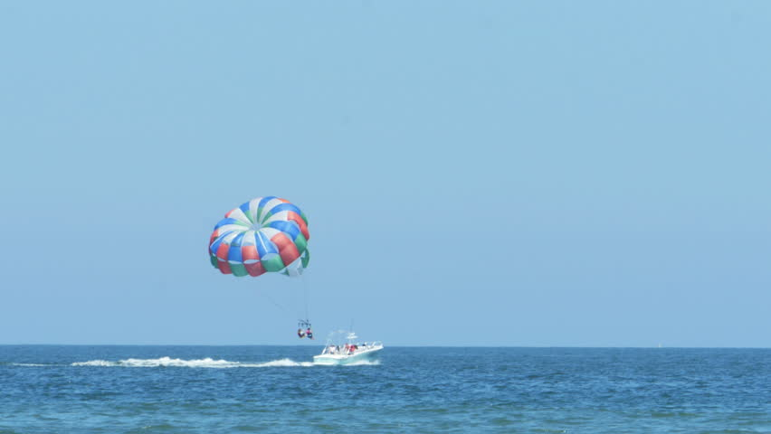 Parasailing From Boat in Ocean at Virginia Beach