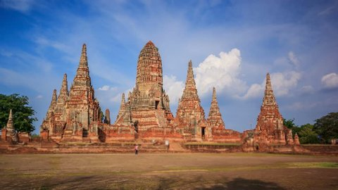 4K. Time Lapse Landmark Old Temple wat Chaiwatthanaram of Ayutthaya Province( Ayutthaya Historical Park )Asia Thailand. Footage Video Ultra HD, 4096 x 2304