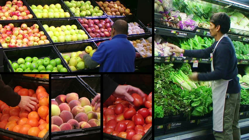 Montage of workers facing produce and shoppers in fresh produce market.  | Shutterstock HD Video #1070941