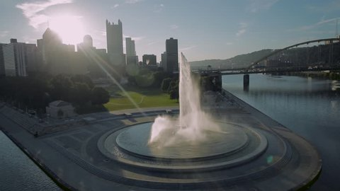 A wrap-around of the fountain at Point State Park in Pittsburgh, Pennsylvania at sunrise.