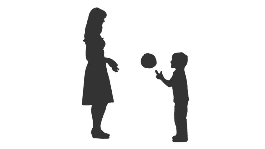 Silhouette Of A Woman Amp Child Standing And Showing