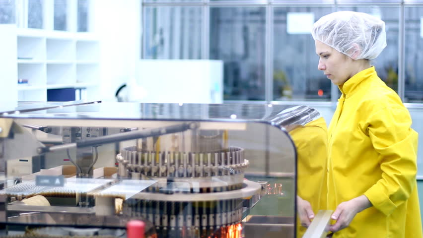 Preparing machine for work in pharmaceutical factory.  HD 1080p.