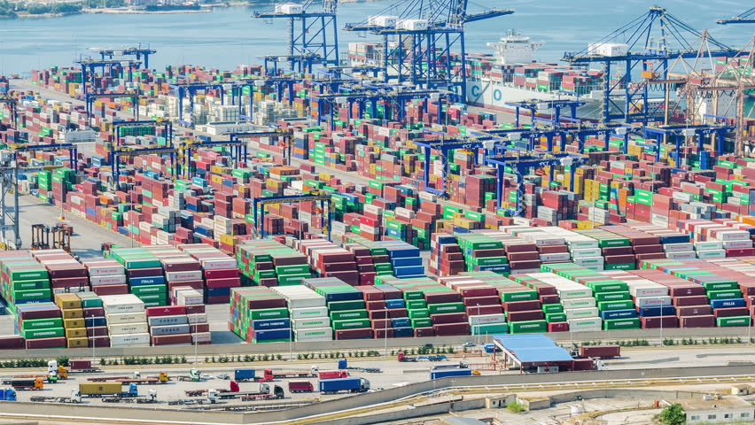 Athens – JULY 15: View Of The BIG Cargo Port Time Lapse JULY 15, 2015 in Athens. | Shutterstock HD Video #10792202