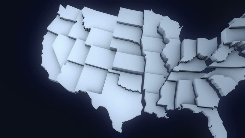 Animated mainland USA map. various states coming into the screen to form the United States map. Alpha channel included for isolation.
