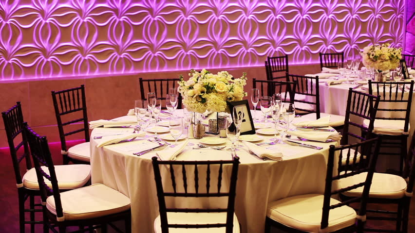 Wedding decorations stock footage video 8939260 shutterstock slow zoom of an empty table at a wedding reception shot in 1080p hd junglespirit Gallery