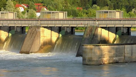 Spillway of the Passau-Ingling hydroelectric dam in Passau, Bayern, Germany