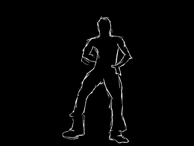 Illustrated male dancer. White lines on black background