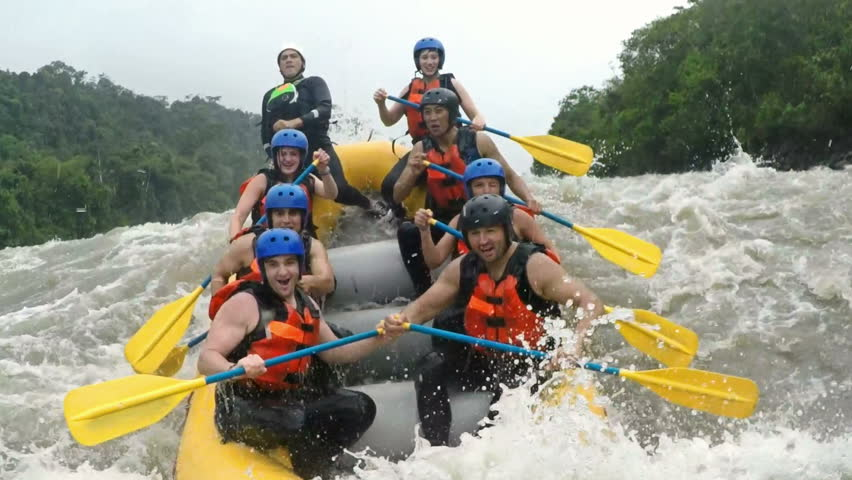 Up and down on whitewater rafting trip on class four rapids | Shutterstock HD Video #10979213