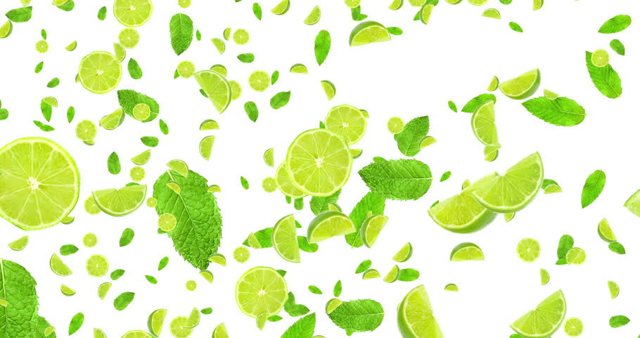 digital animation fruits citrus lime slices and mint leaf flying on white background, loop seamless. 4K and 1080 resolution. Cocktail mojito ingredients, party concept #10999673