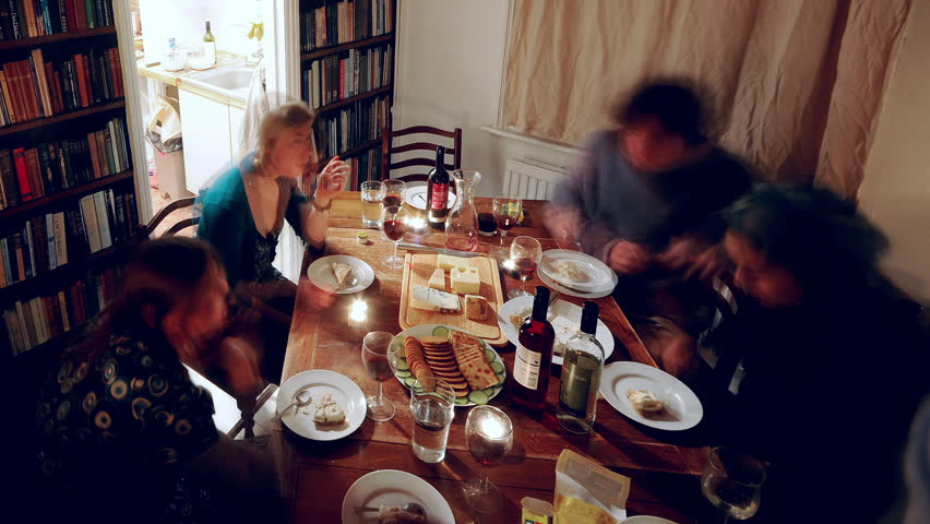 Dinner Party Video Part - 15: Group Of Adults Eating A Meal At Dinner Party Over A Few Hours - HD Stock