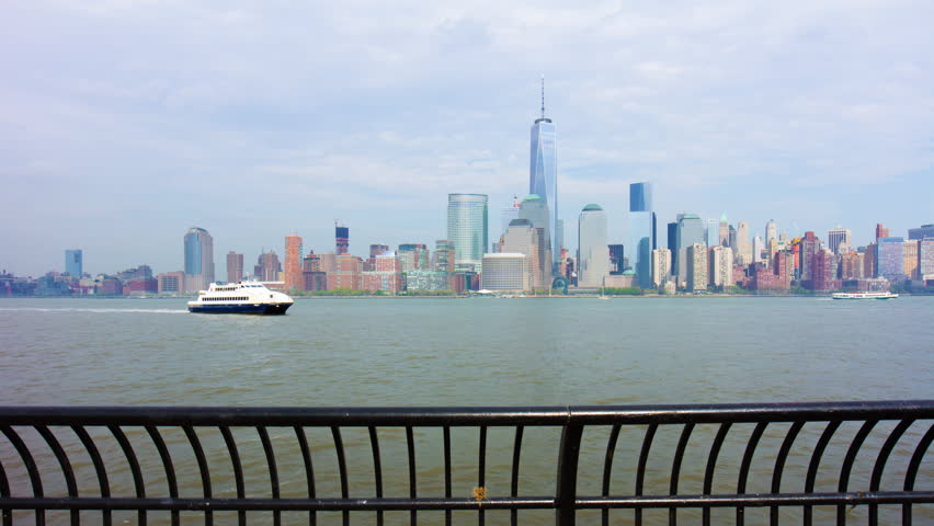 New york manhattan panoramic view from jersey city pier 4k time lapse usa | Shutterstock HD Video #11034902