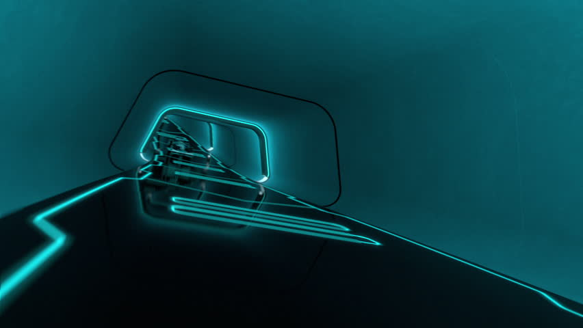 Formula one racecar speeding along a futuristic tunnel with neon light lines in tron look - high quality 3d animation - loopable | Shutterstock HD Video #1107412