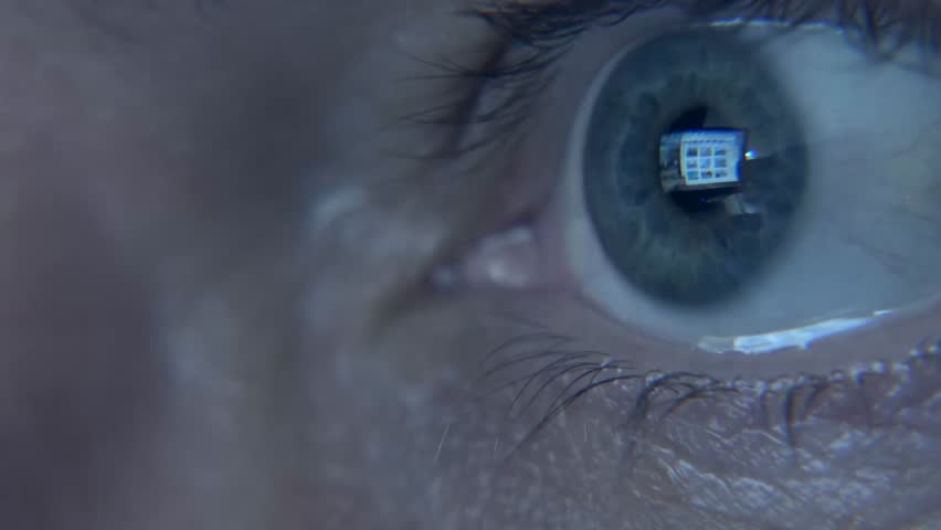 Closeup shot of man's  eye surfing internet at night #11078762