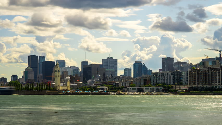 Montreal City Time Lapse 4k 1080, Timelapse of clouds moving over Montreal Quebec