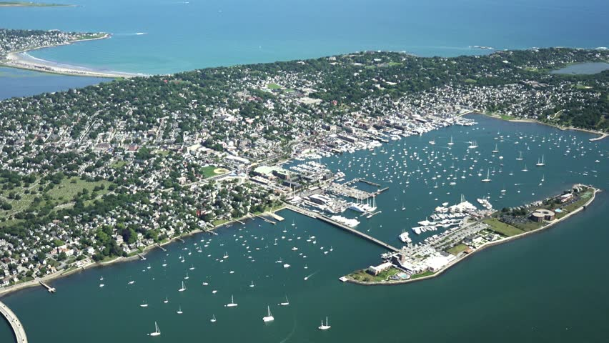 Newport, Ri 4k aerial, viewing down on full city and area from 1000 ft.