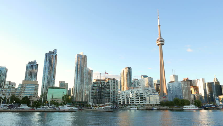 TORONTO - AUGUST 5, 2015: View of downtown Toronto, Canada skyline, as seen from a smooth moving pan.
