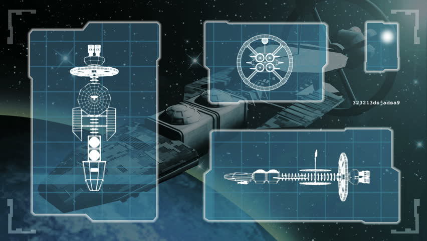 Animated blueprint of a futuristic spaceship.